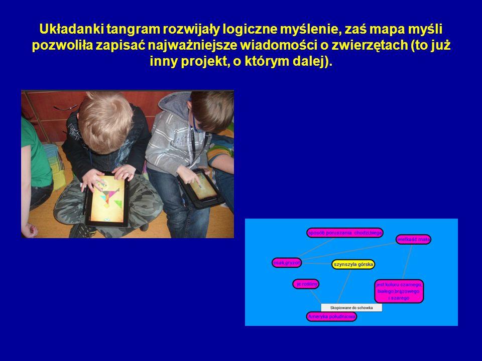 Układanki tangram rozwijały logiczne myślenie, zaś mapa myśli pozwoliła zapisać najważniejsze wiadomości o zwierzętach (to już inny projekt, o którym dalej).