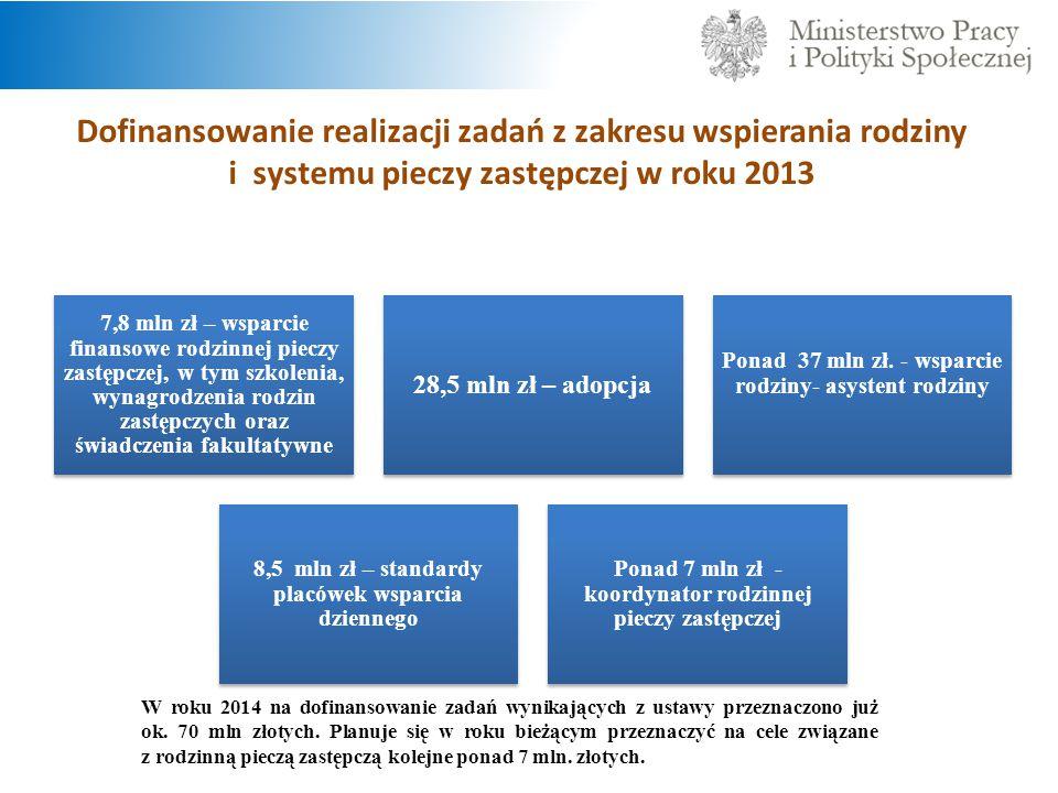Dofinansowanie realizacji zadań z zakresu wspierania rodziny i systemu pieczy zastępczej w roku 2013