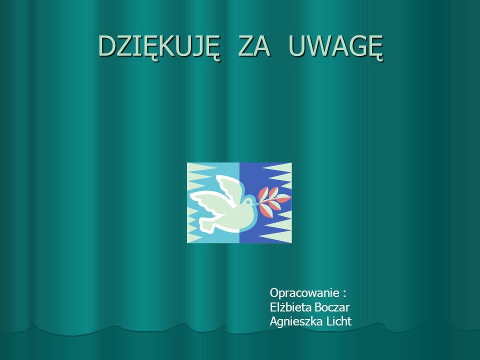 DZIĘKUJĘ ZA UWAGĘ Opracowanie : Elżbieta Boczar Agnieszka Licht