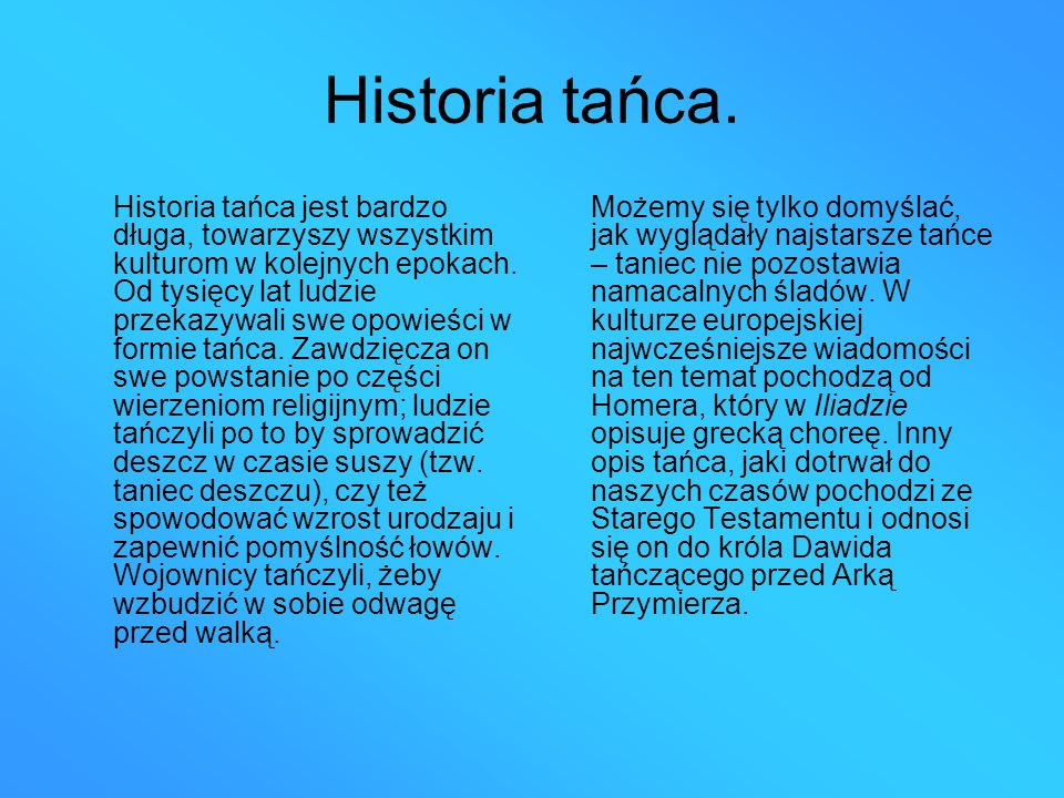 Historia tańca.