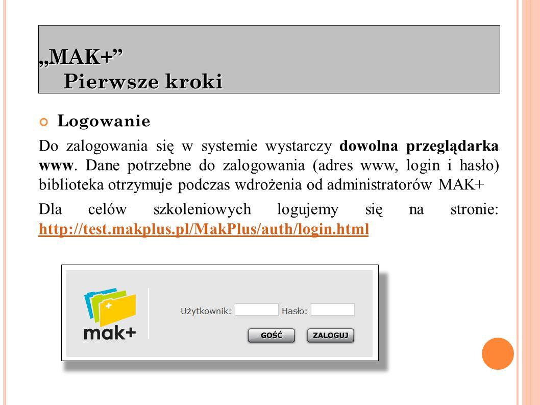 """""""MAK+ Pierwsze kroki Podział na moduły: Katalog – przeznaczony do wprowadzania opisów bibliograficznych."""