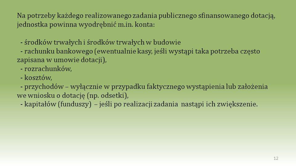 Na potrzeby każdego realizowanego zadania publicznego sfinansowanego dotacją, jednostka powinna wyodrębnić m.in. konta: