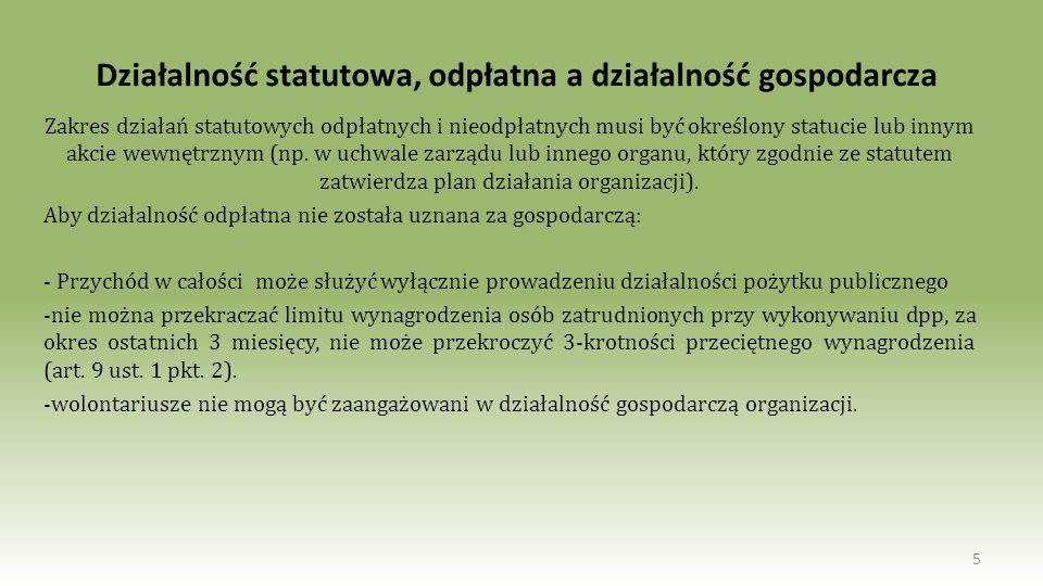 Działalność statutowa, odpłatna a działalność gospodarcza