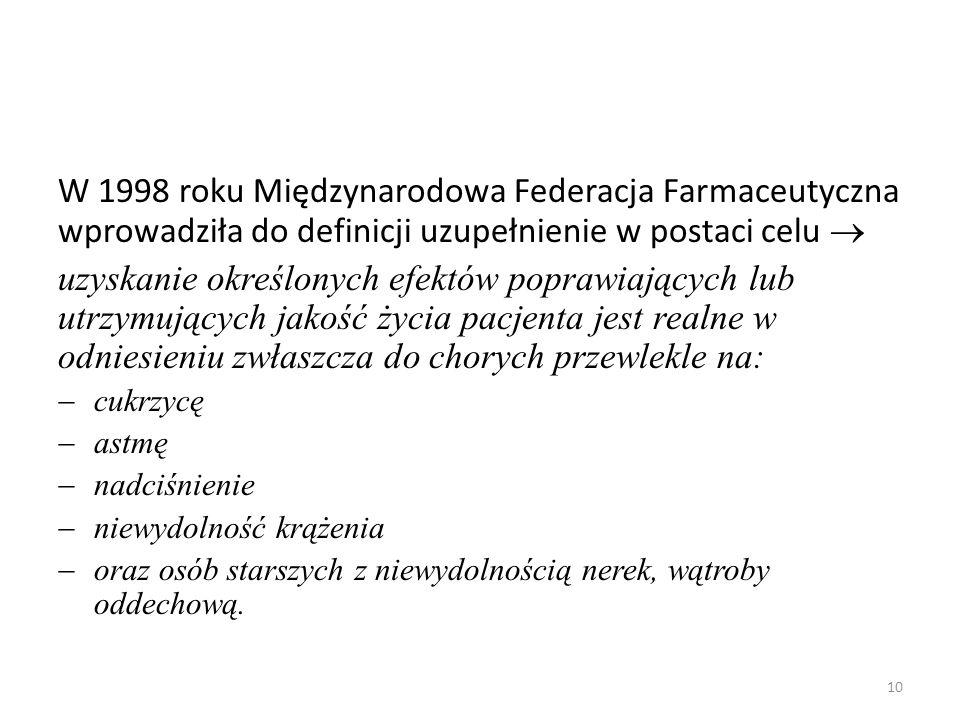 W 1998 roku Międzynarodowa Federacja Farmaceutyczna wprowadziła do definicji uzupełnienie w postaci celu 