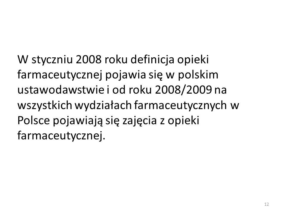 W styczniu 2008 roku definicja opieki farmaceutycznej pojawia się w polskim ustawodawstwie i od roku 2008/2009 na wszystkich wydziałach farmaceutycznych w Polsce pojawiają się zajęcia z opieki farmaceutycznej.