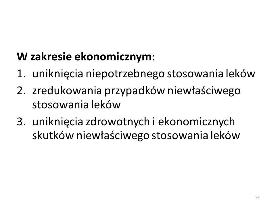 W zakresie ekonomicznym:
