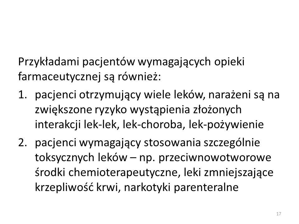 Przykładami pacjentów wymagających opieki farmaceutycznej są również: