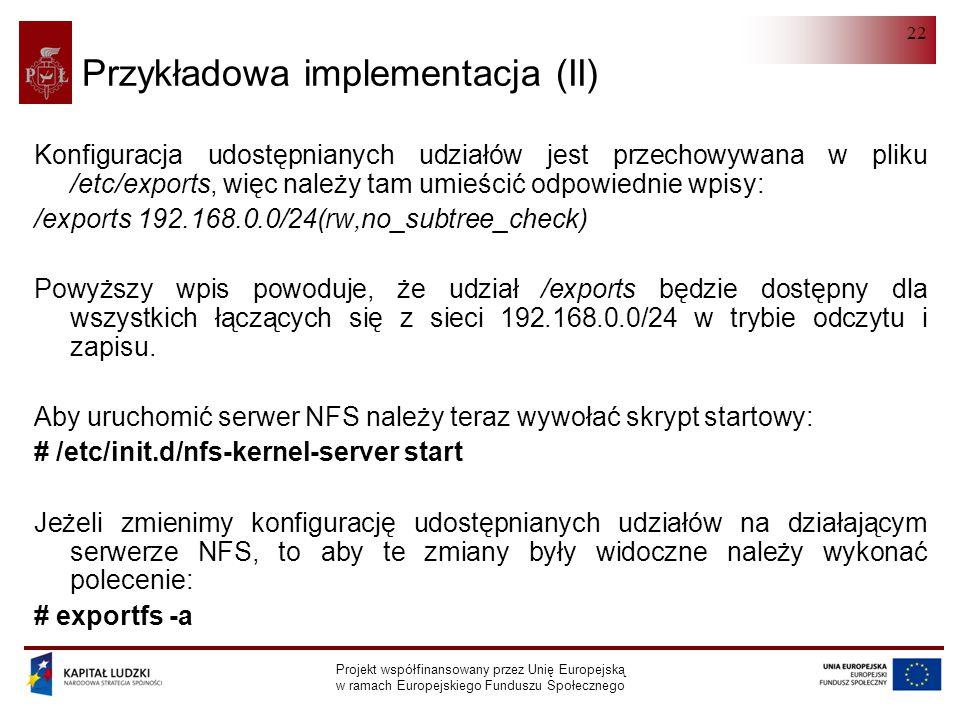 Przykładowa implementacja (II)