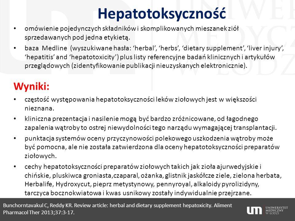 Hepatotoksyczność Wyniki: