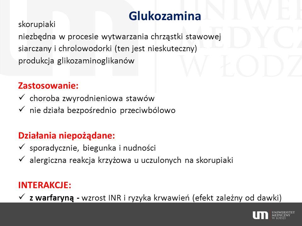 Glukozamina Zastosowanie: Działania niepożądane: INTERAKCJE: