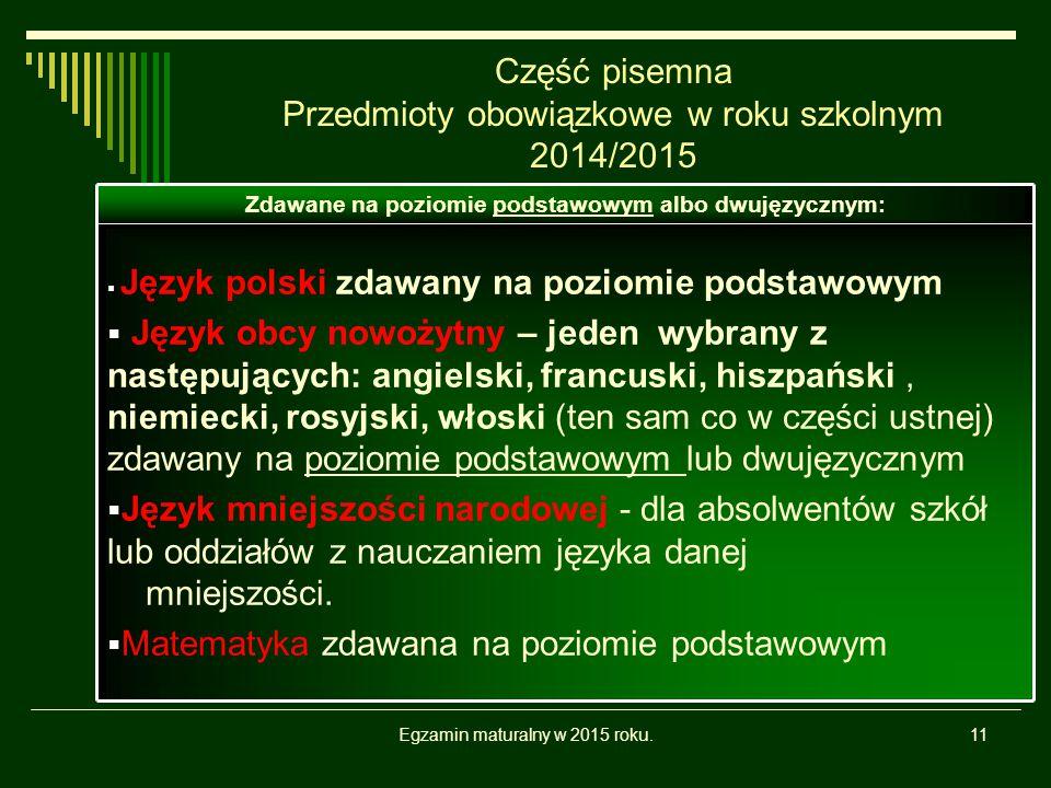 Część pisemna Przedmioty obowiązkowe w roku szkolnym 2014/2015