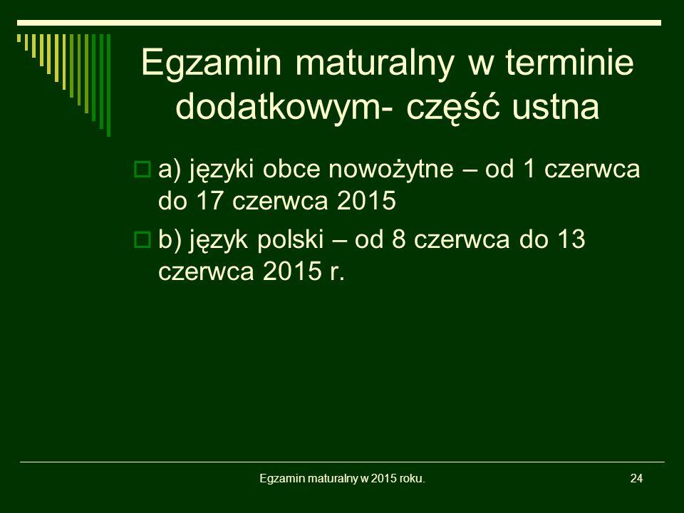 Egzamin maturalny w terminie dodatkowym- część ustna