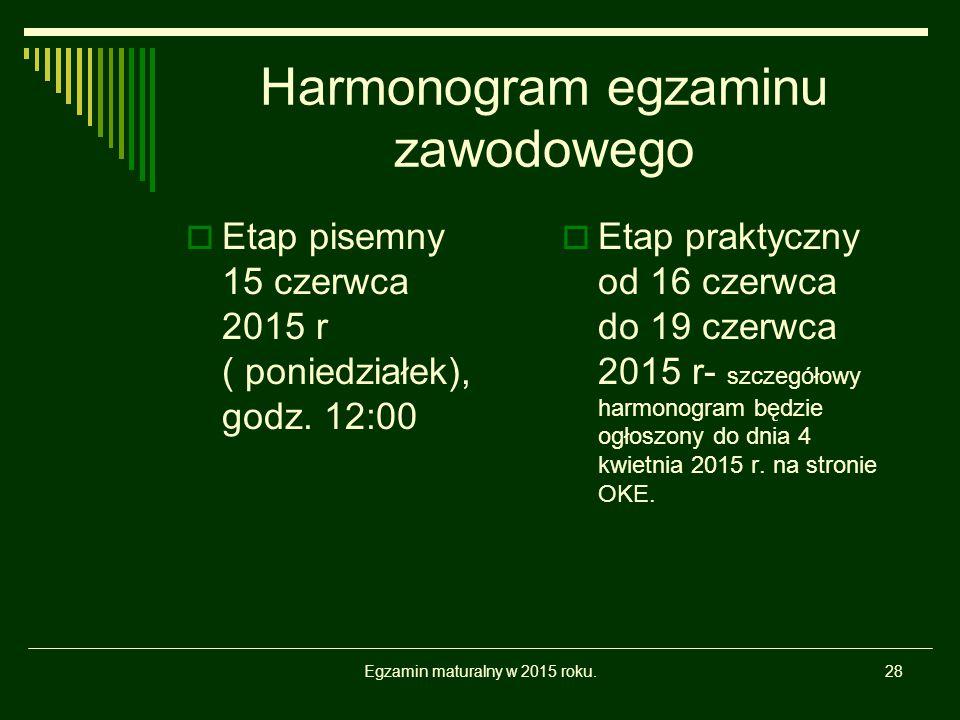 Harmonogram egzaminu zawodowego