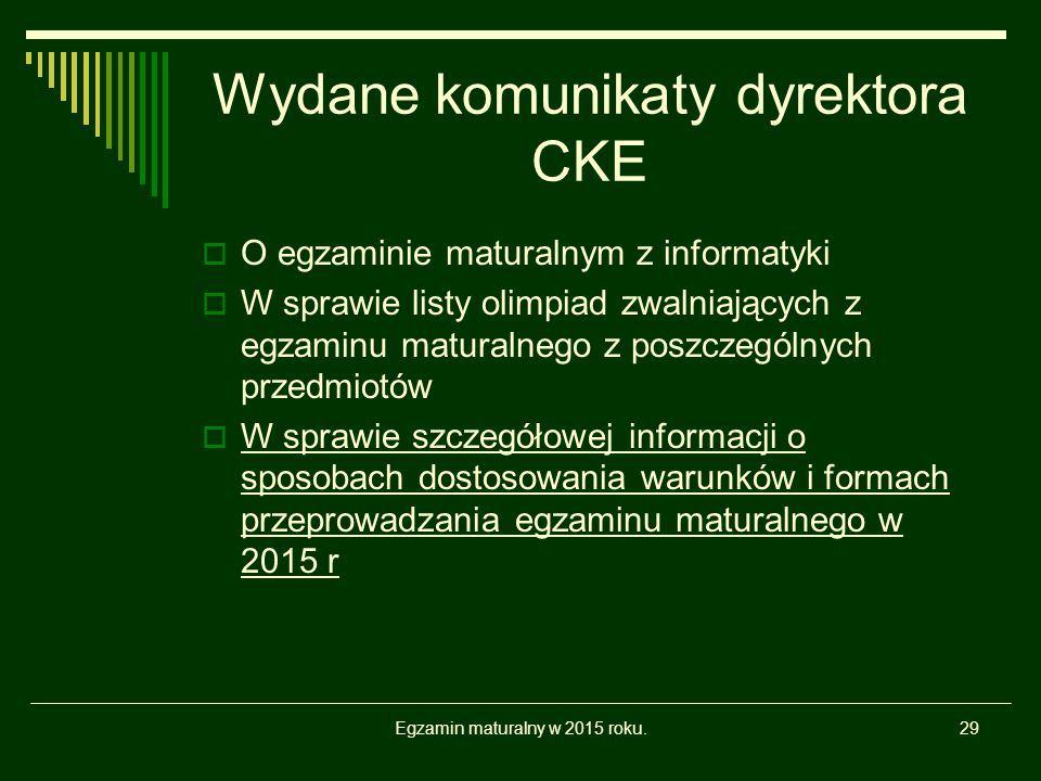 Wydane komunikaty dyrektora CKE