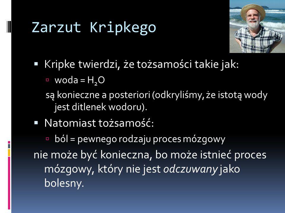 Zarzut Kripkego Kripke twierdzi, że tożsamości takie jak:
