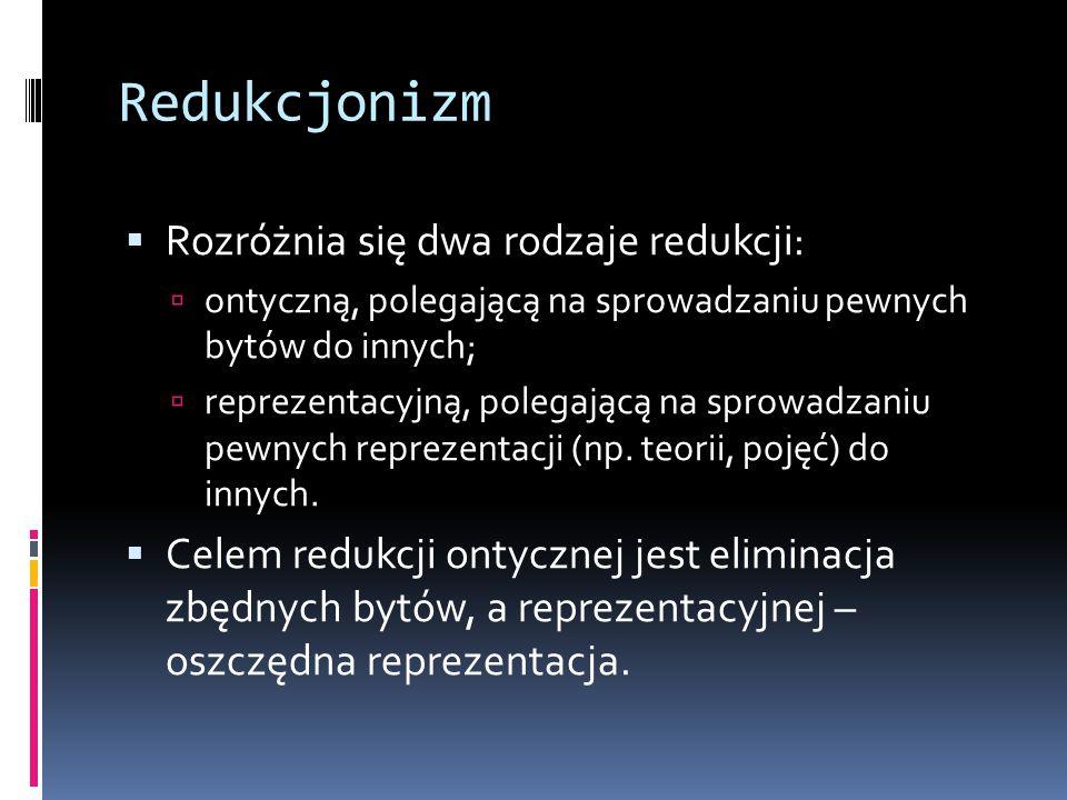 Redukcjonizm Rozróżnia się dwa rodzaje redukcji: