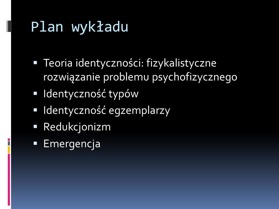 Plan wykładu Teoria identyczności: fizykalistyczne rozwiązanie problemu psychofizycznego. Identyczność typów.