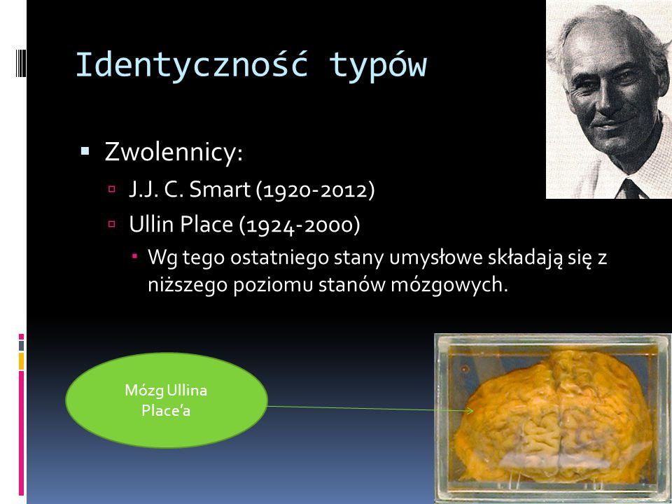 Identyczność typów Zwolennicy: J.J. C. Smart (1920-2012)