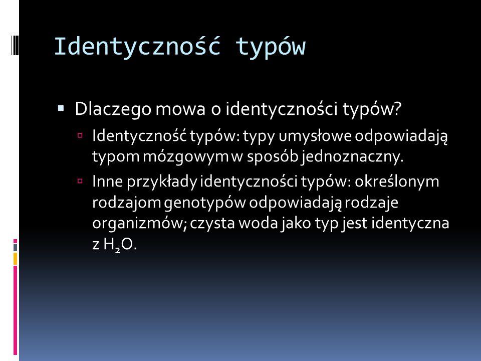 Identyczność typów Dlaczego mowa o identyczności typów