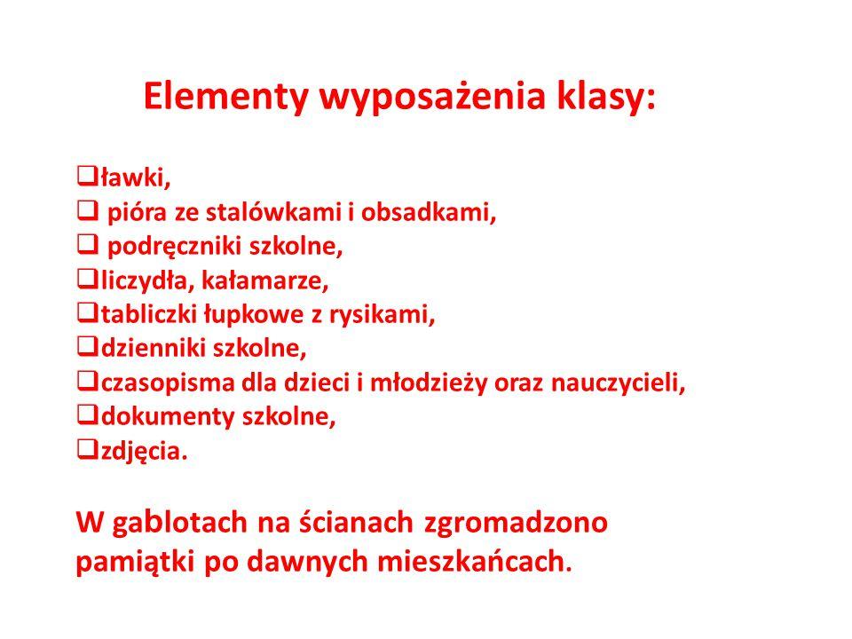 Elementy wyposażenia klasy: