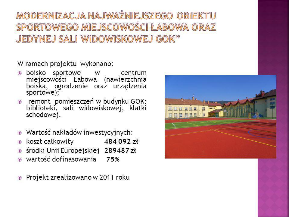 Modernizacja najważniejszego obiektu sportowego miejscowości Łabowa oraz jedynej sali widowiskowej GOK