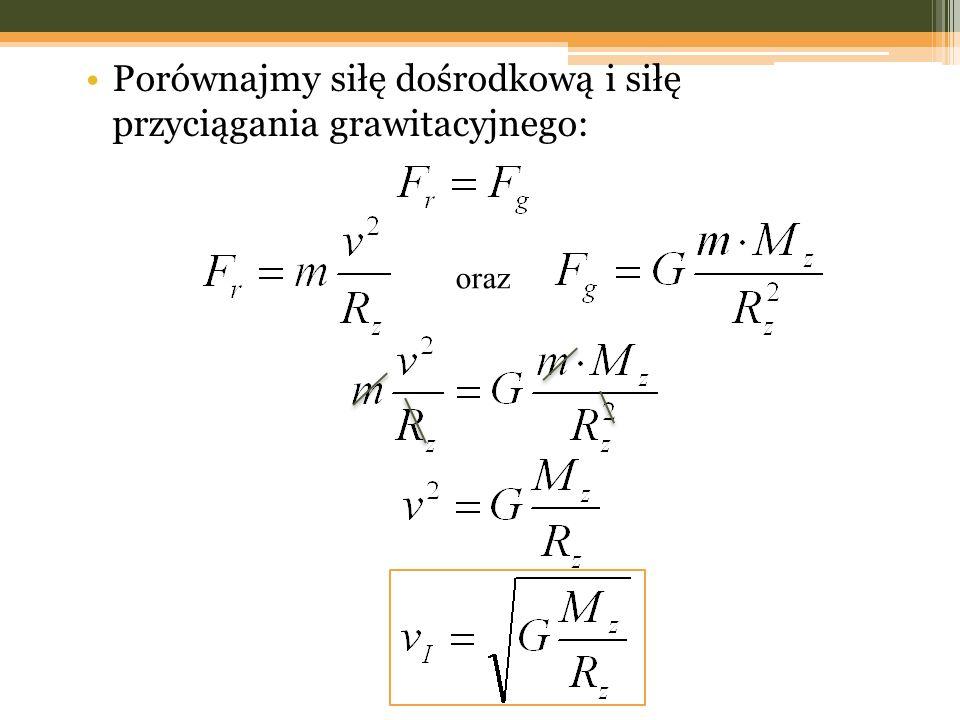 Porównajmy siłę dośrodkową i siłę przyciągania grawitacyjnego: