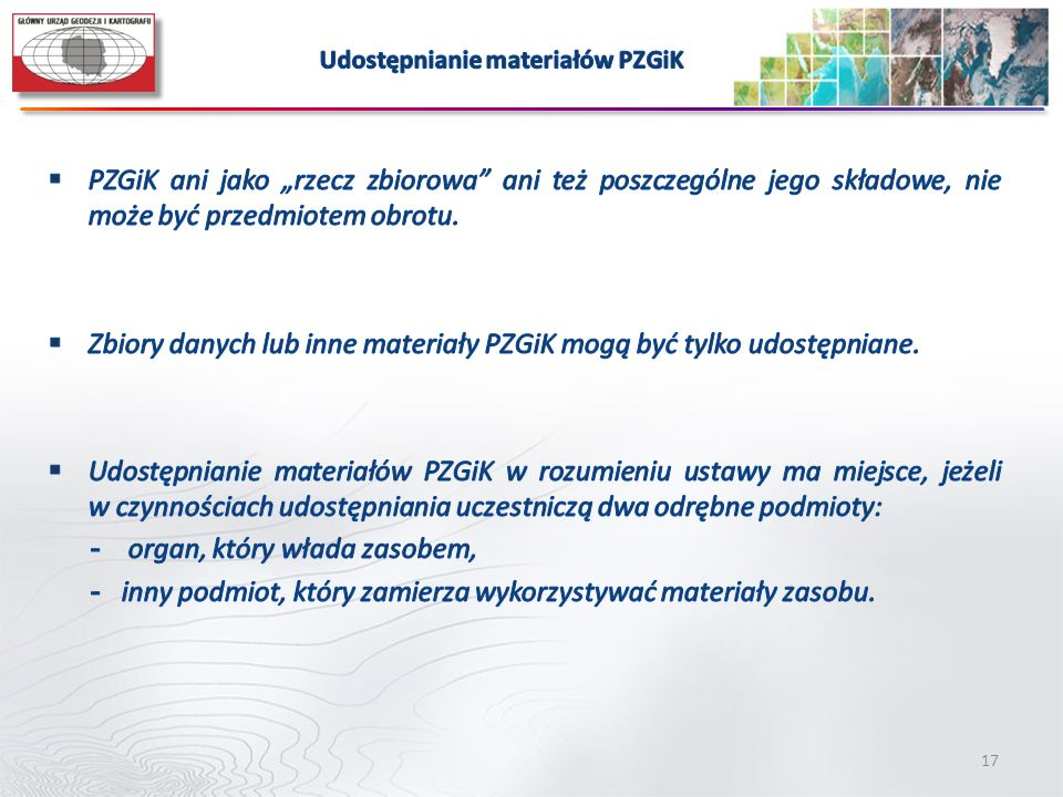 Udostępnianie materiałów PZGiK