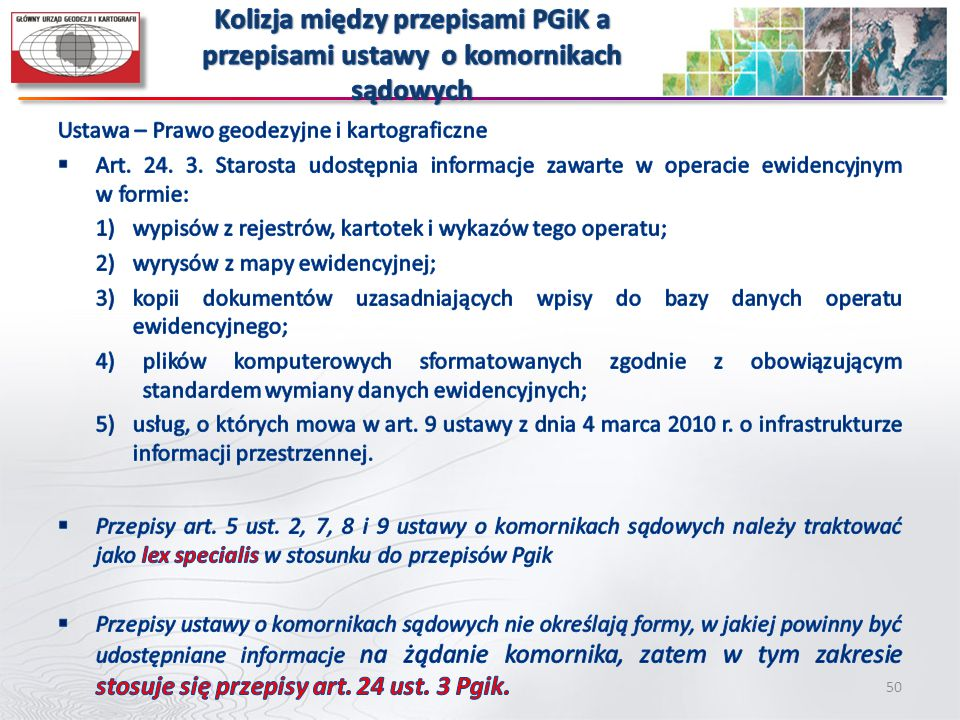 Kolizja między przepisami PGiK a przepisami ustawy o komornikach sądowych