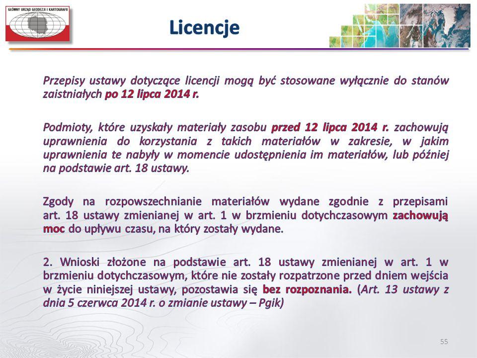 Licencje Przepisy ustawy dotyczące licencji mogą być stosowane wyłącznie do stanów zaistniałych po 12 lipca 2014 r.
