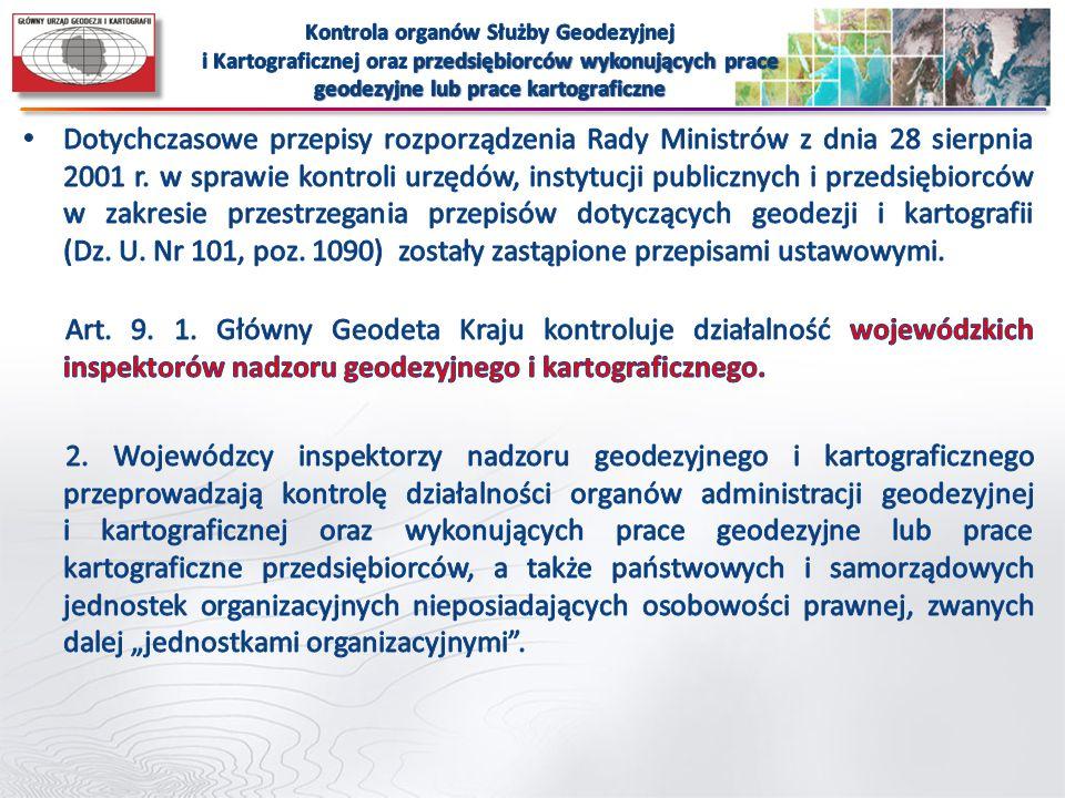 Kontrola organów Służby Geodezyjnej i Kartograficznej oraz przedsiębiorców wykonujących prace geodezyjne lub prace kartograficzne