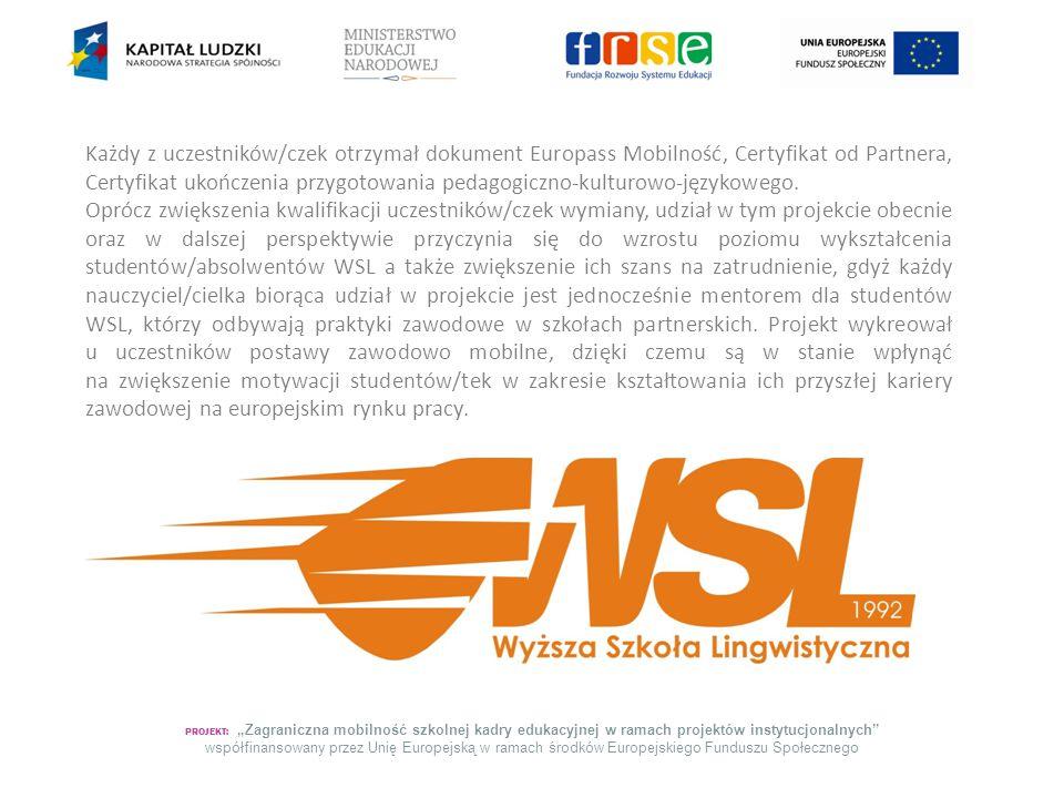 Każdy z uczestników/czek otrzymał dokument Europass Mobilność, Certyfikat od Partnera, Certyfikat ukończenia przygotowania pedagogiczno-kulturowo-językowego.