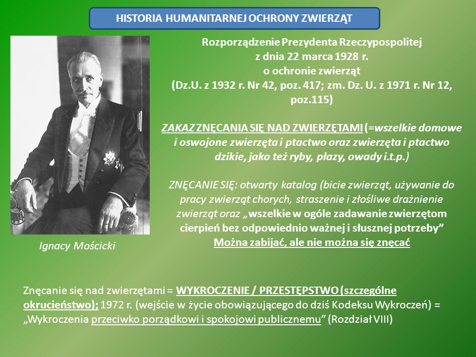 HISTORIA HUMANITARNEJ OCHRONY ZWIERZĄT