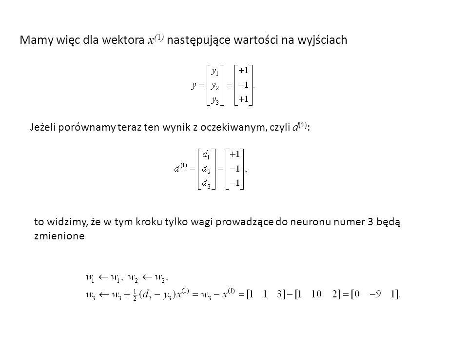 Mamy więc dla wektora x(1) następujące wartości na wyjściach