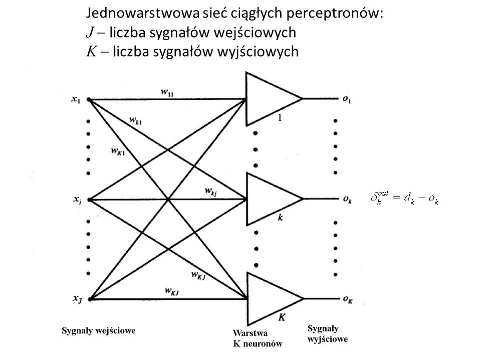 Jednowarstwowa sieć ciągłych perceptronów: