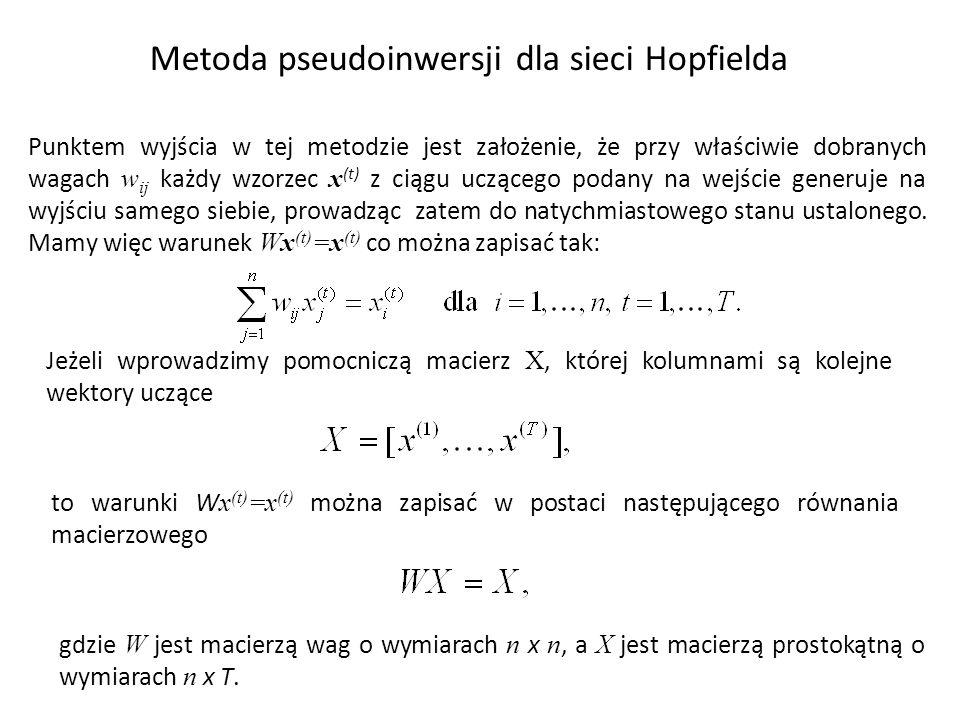 Metoda pseudoinwersji dla sieci Hopfielda