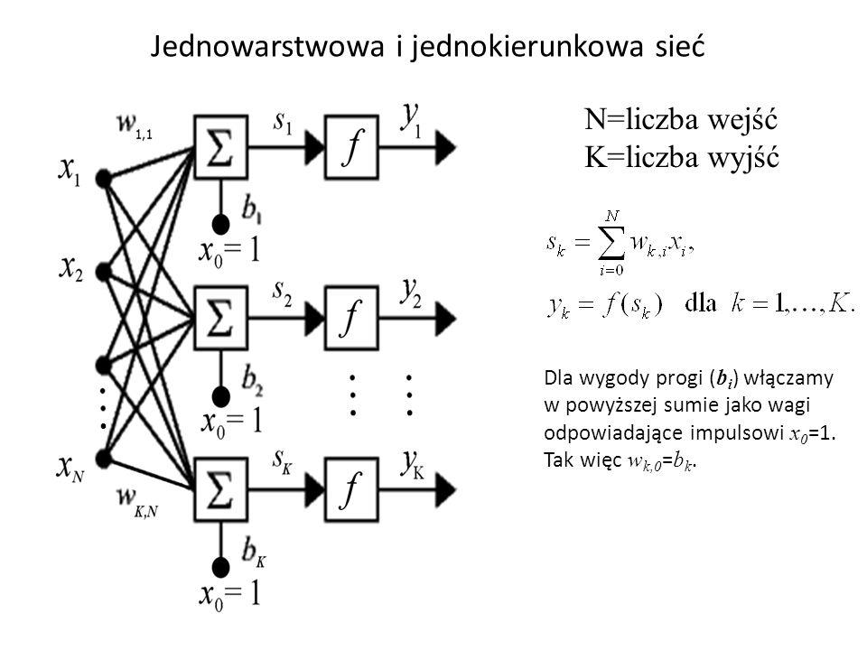 Jednowarstwowa i jednokierunkowa sieć