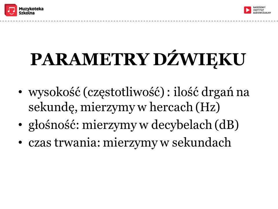 PARAMETRY DŹWIĘKU wysokość (częstotliwość) : ilość drgań na sekundę, mierzymy w hercach (Hz) głośność: mierzymy w decybelach (dB)