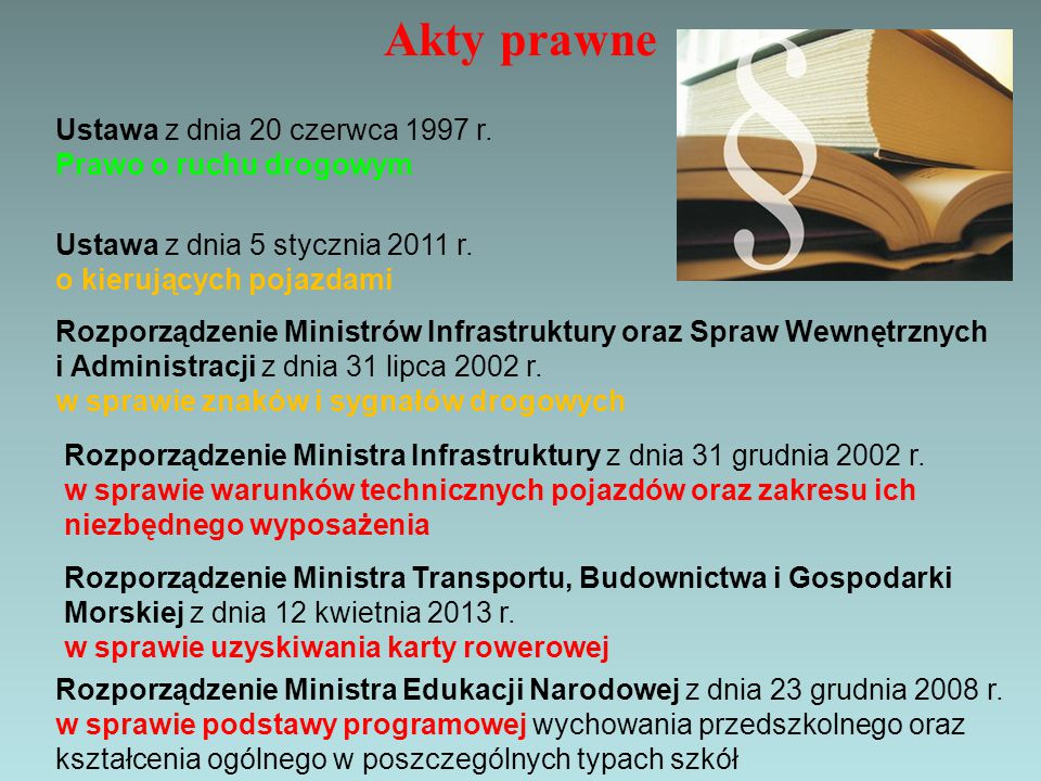 Akty prawne Ustawa z dnia 20 czerwca 1997 r. Prawo o ruchu drogowym
