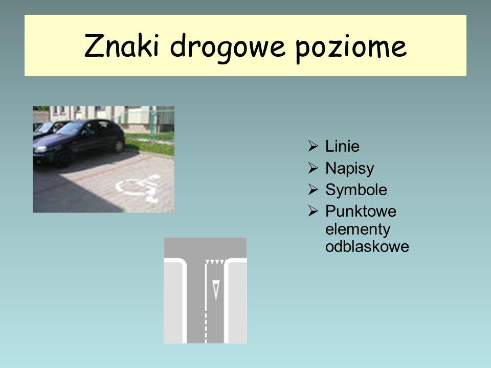 Znaki drogowe poziome Linie Napisy Symbole