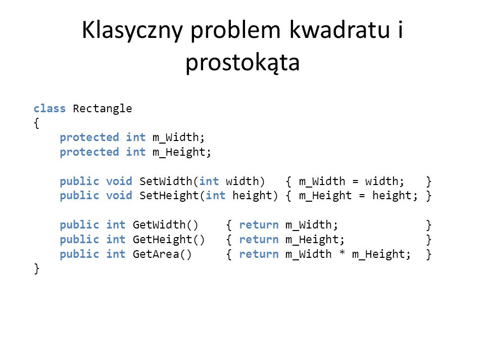 Klasyczny problem kwadratu i prostokąta
