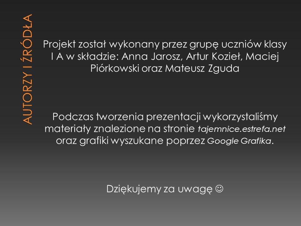 AUTORZY I ŹRÓDŁA Projekt został wykonany przez grupę uczniów klasy I A w składzie: Anna Jarosz, Artur Kozieł, Maciej Piórkowski oraz Mateusz Zguda.