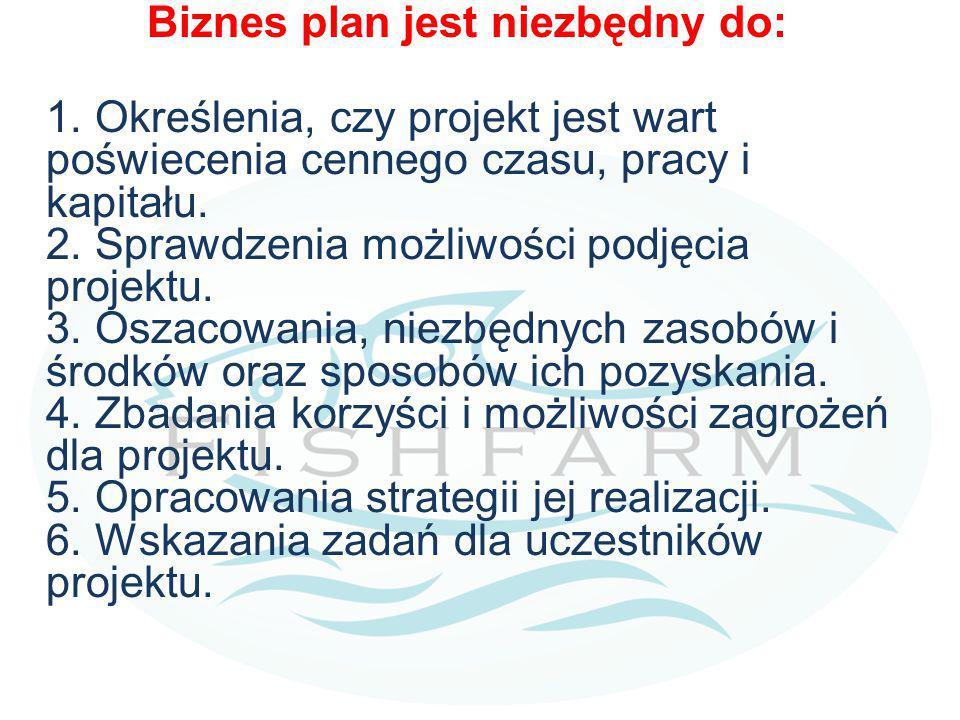 Biznes plan jest niezbędny do: 1