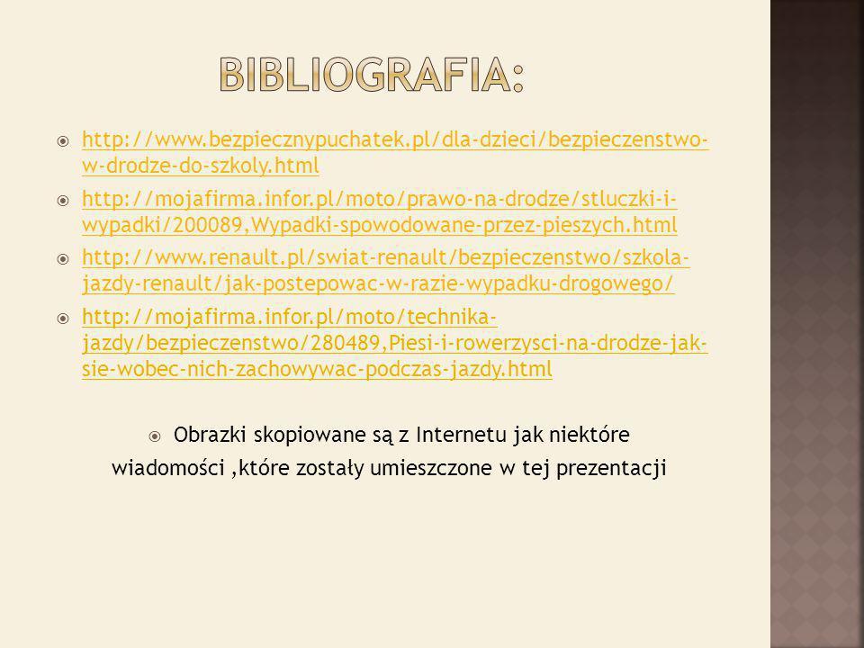 BIBLIOGRAFIA: http://www.bezpiecznypuchatek.pl/dla-dzieci/bezpieczenstwo- w-drodze-do-szkoly.html.