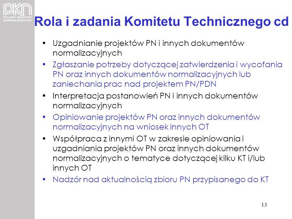 Rola i zadania Komitetu Technicznego cd