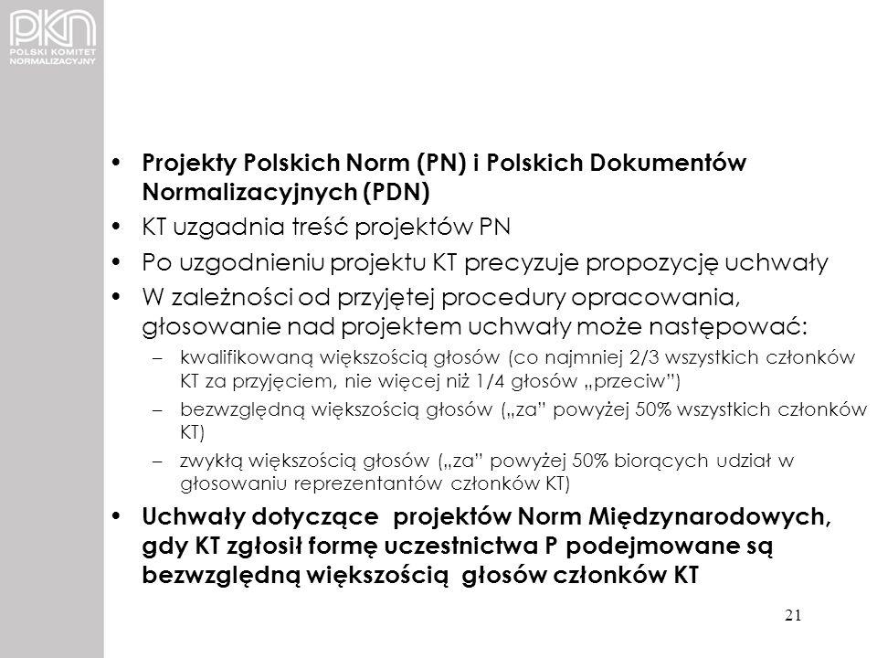 KT uzgadnia treść projektów PN