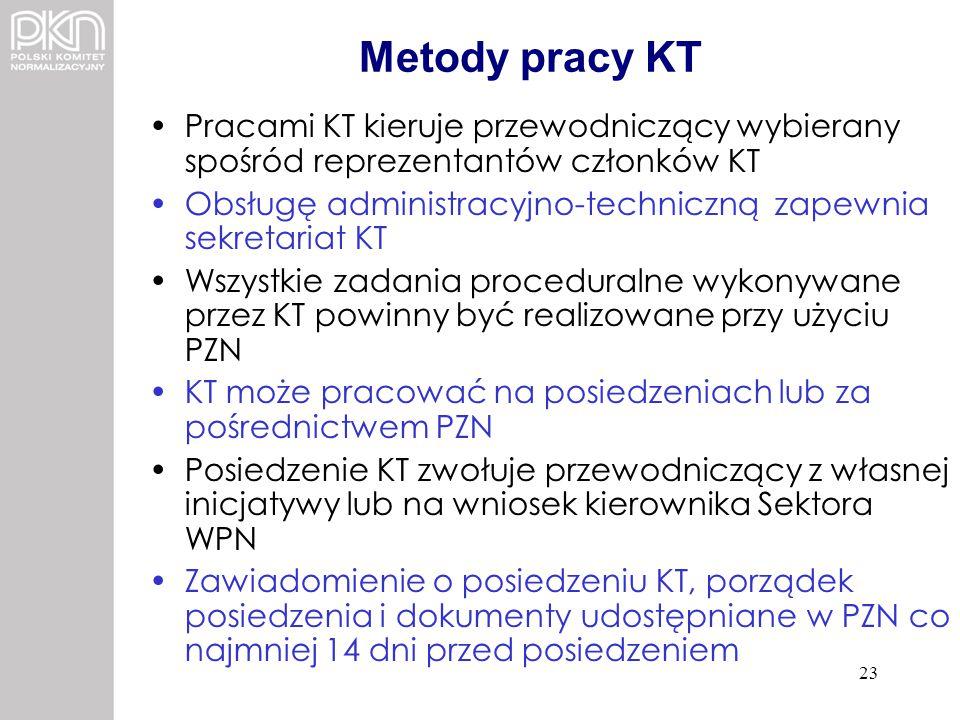 Metody pracy KT Pracami KT kieruje przewodniczący wybierany spośród reprezentantów członków KT.