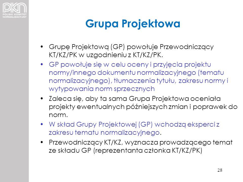 Grupa Projektowa Grupę Projektową (GP) powołuje Przewodniczący KT/KZ/PK w uzgodnieniu z KT/KZ/PK.