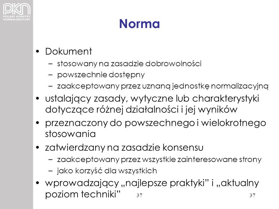 Norma Dokument. stosowany na zasadzie dobrowolności. powszechnie dostępny. zaakceptowany przez uznaną jednostkę normalizacyjną.