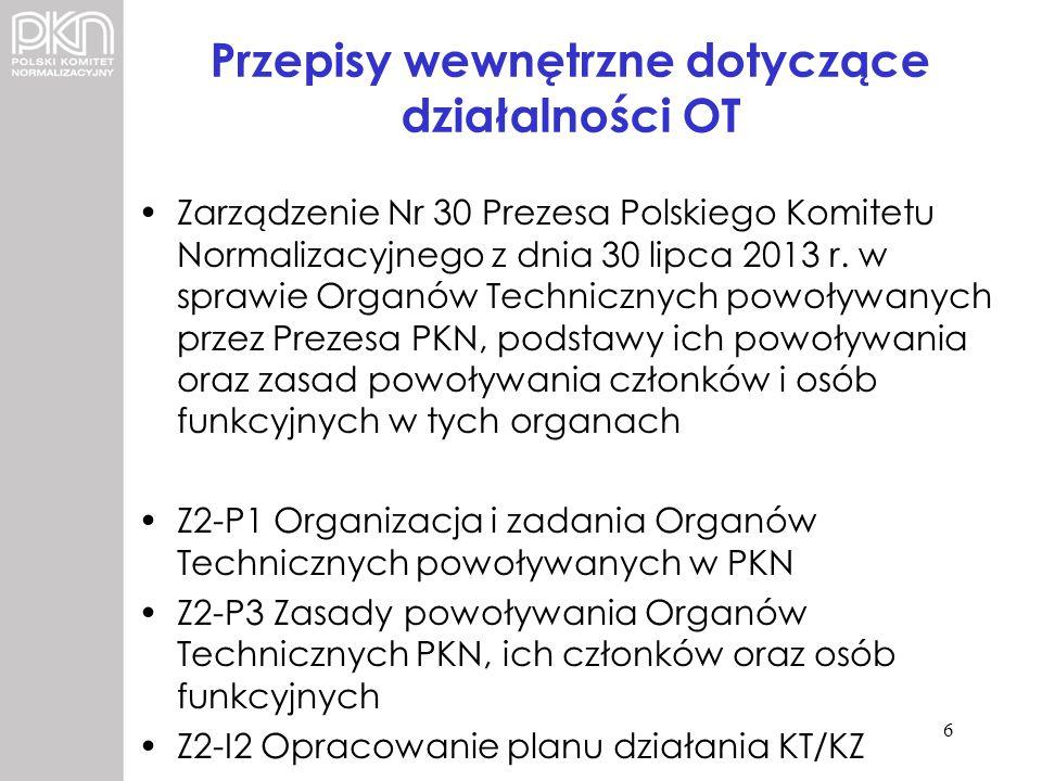 Przepisy wewnętrzne dotyczące działalności OT