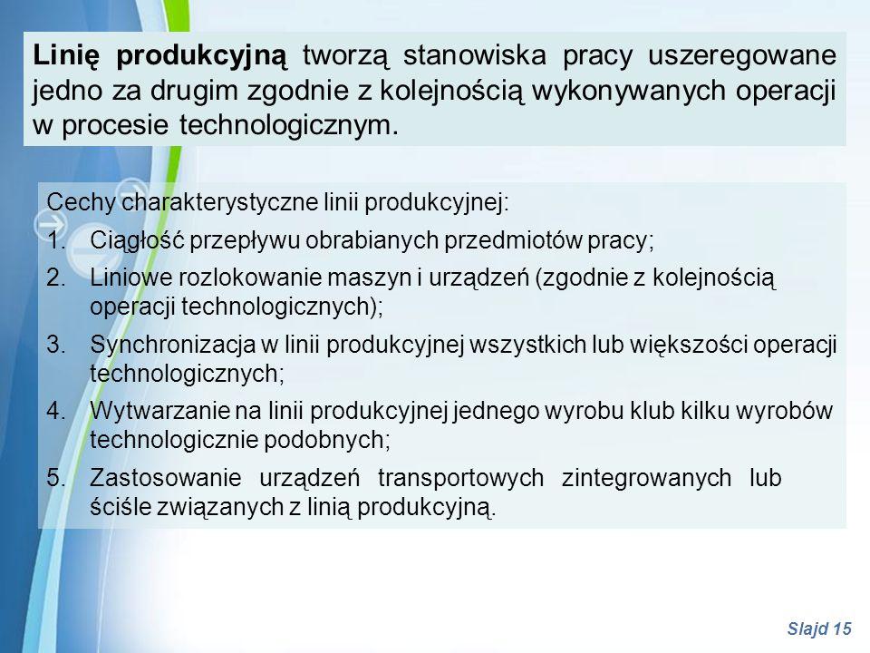 Linię produkcyjną tworzą stanowiska pracy uszeregowane jedno za drugim zgodnie z kolejnością wykonywanych operacji w procesie technologicznym.